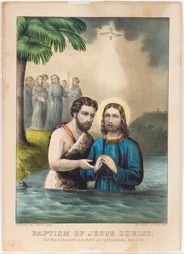painting of John baptizing Jesus