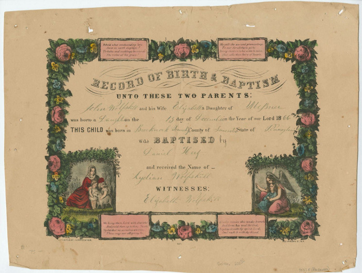 paper form for birth and baptism records