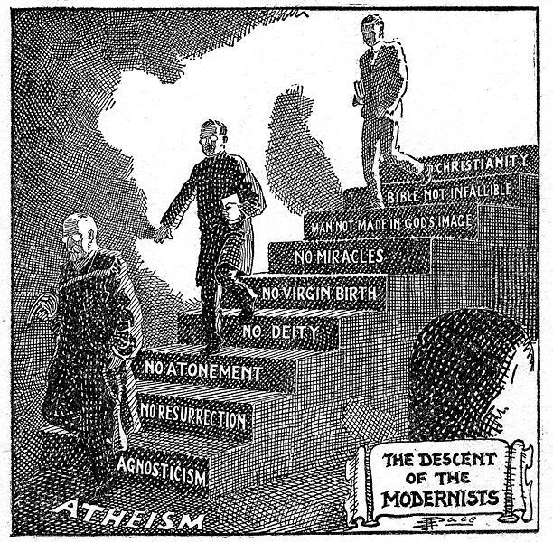 image of men stepping down stairs of fallible Bible, no miracles ...