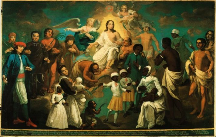 painting of people paying homage to Christ