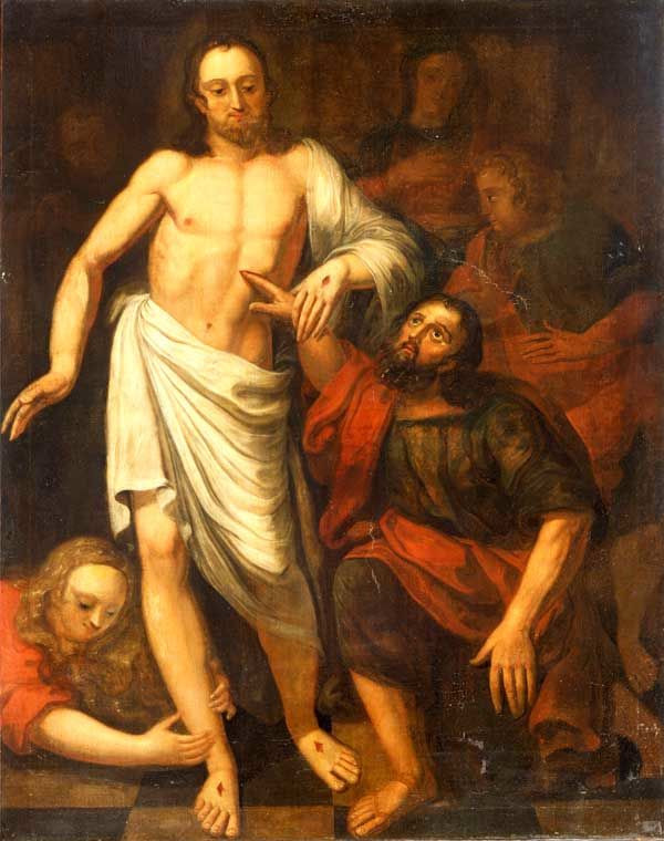 painting of Thomas' hand in Christ's side