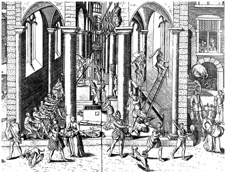 drawing of removing decoration from interior of church