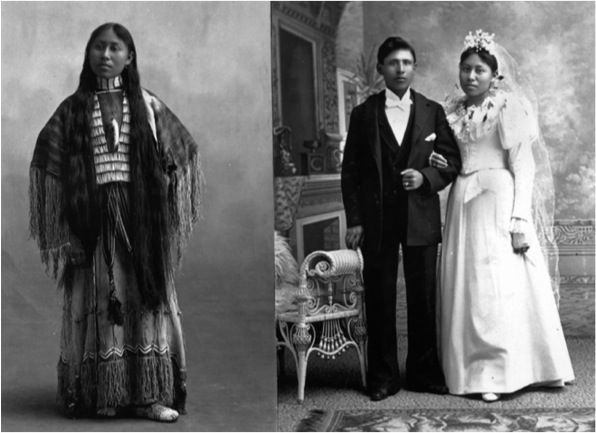 photos of person in native dress, then in American wedding dress