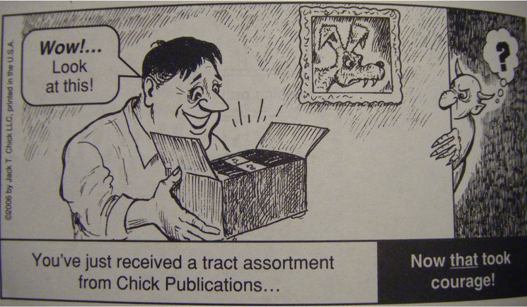 cartoon of opening a box of tracts
