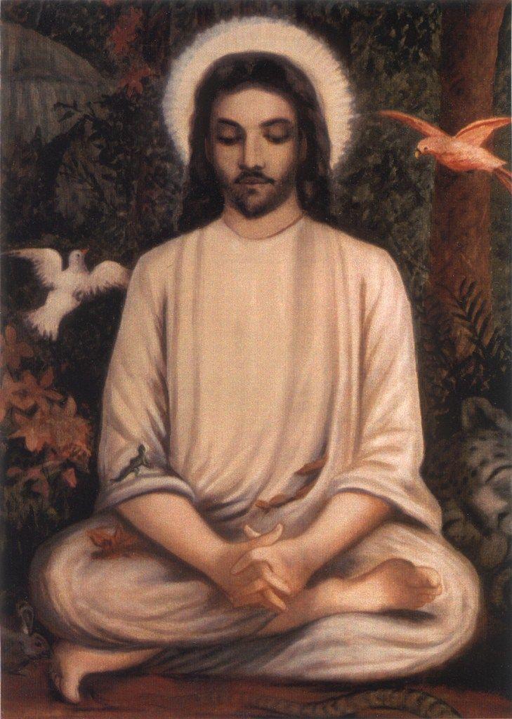painting of Jesus in cross-legged pose