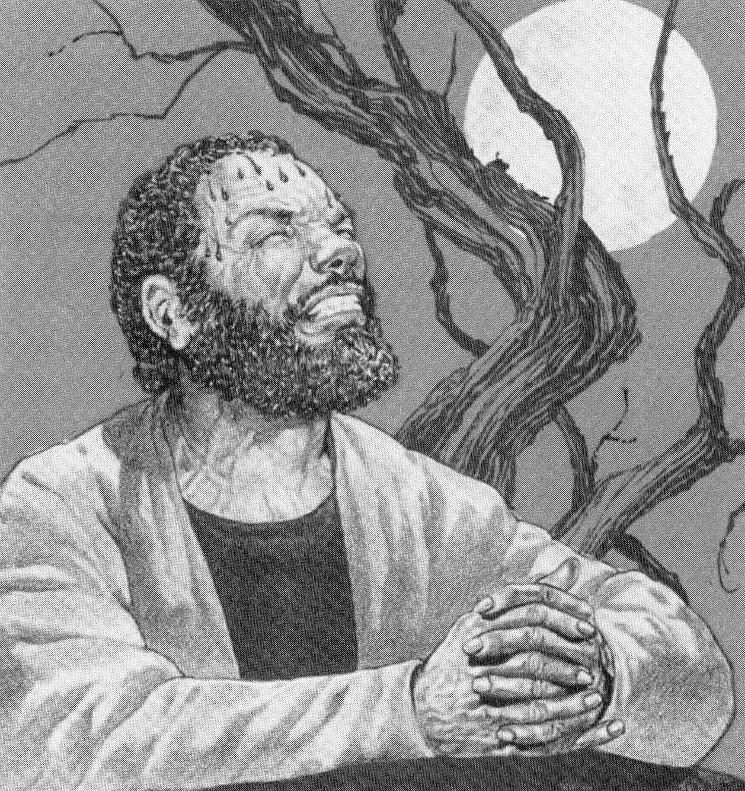 painting of African American bearded Jesus