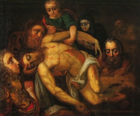painting of people holding Christ's corpse