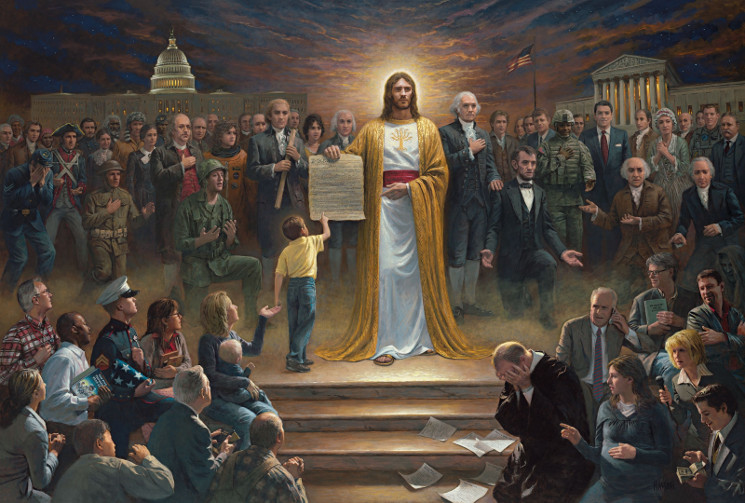 painting of Christ surrounded by human representatives
