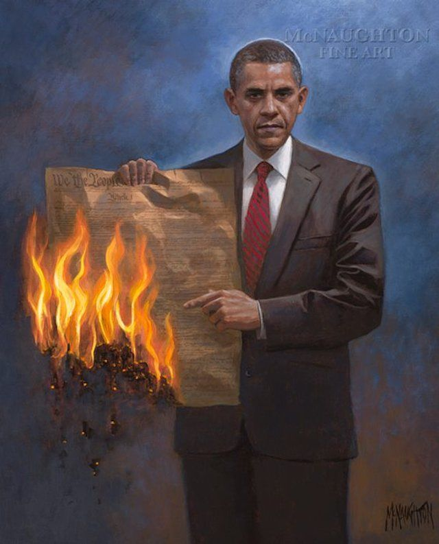 painting of President Obama holding a flaming Constitution