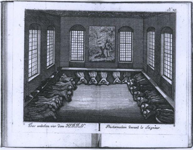 engraving of Moravian prostration