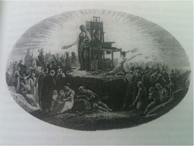 image of divine revelation being spread by pamphlets, etc.
