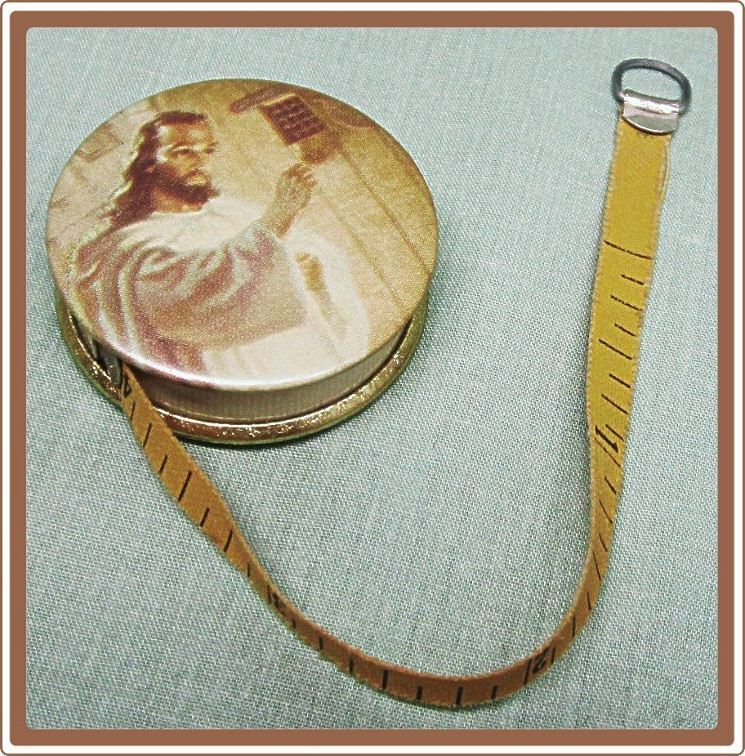 head of Christ on case of tape measure