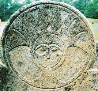 photo of gravestone with soul effigy
