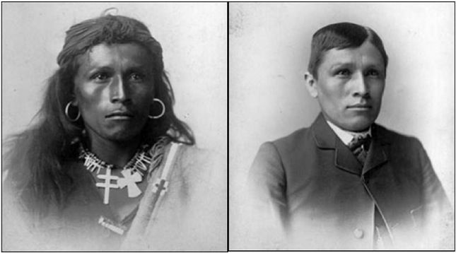 photos of person in native dress, then in American suit and tie