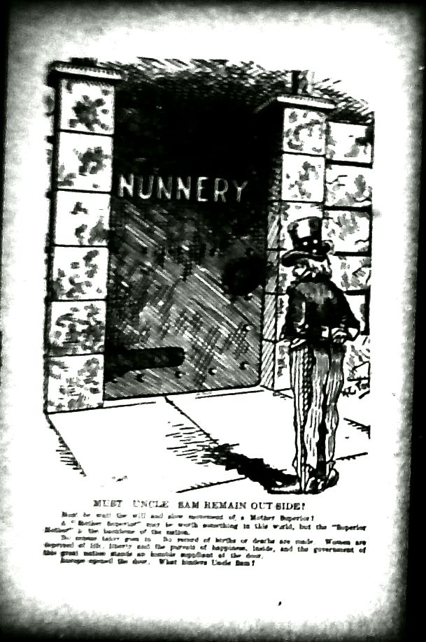 cartoon of Uncle Sam standing outside the door of a nunnery