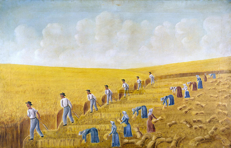 painting of workers in field for wheat harvest