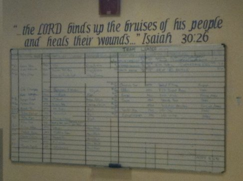 photo of Bible verse above whiteboard schedule for the day