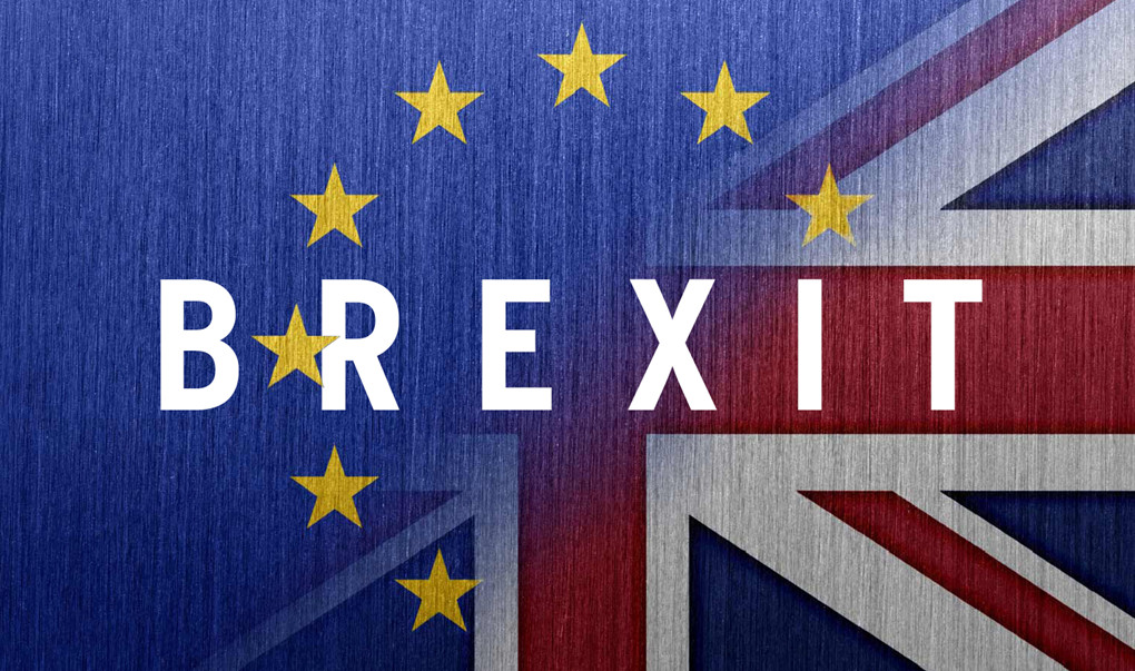 Brexit, over amalgam of British and EU flags