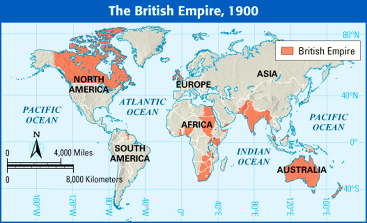 global map showing extent of the British Empire in 1900