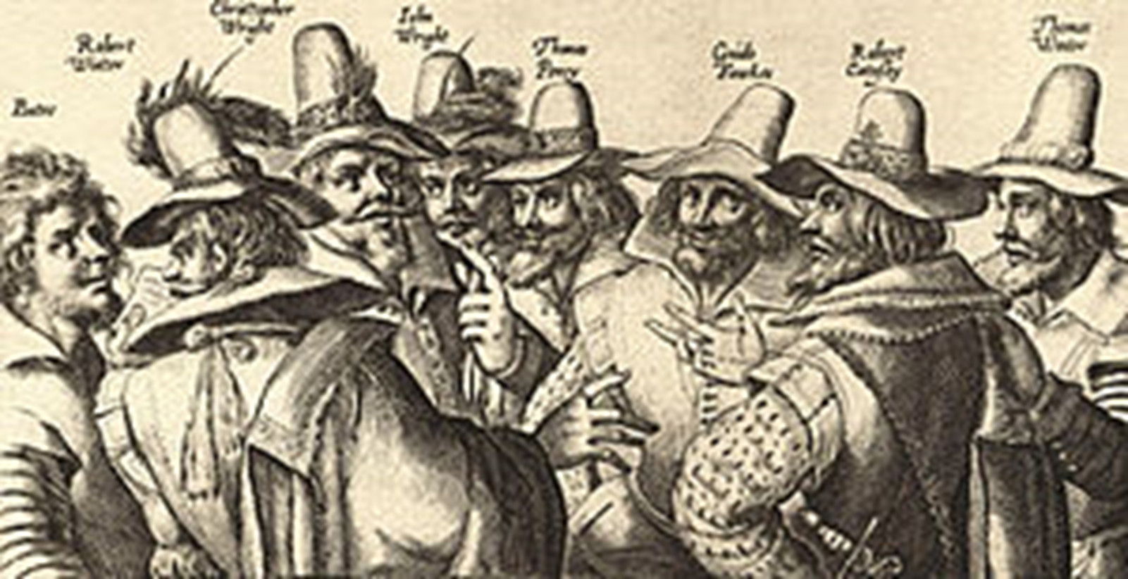 drawing of seven men with Fawkes