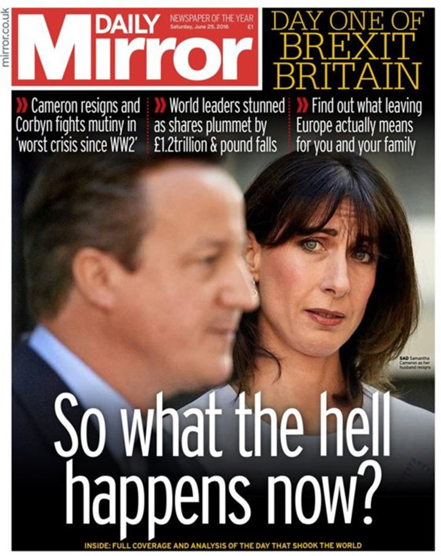 front page of Daily Mirror tabloid showing Cameron resigning