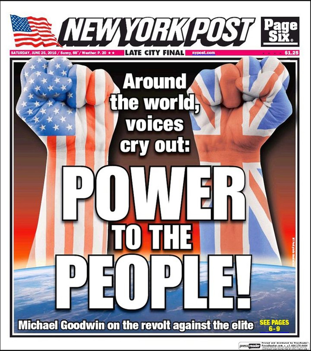New York Post front page, a few days after the Brexit referendum