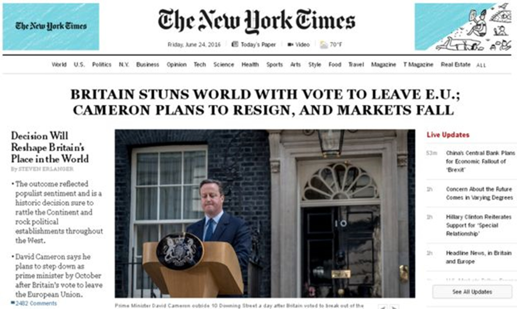 New York Times front page, the day after the Brexit referendum