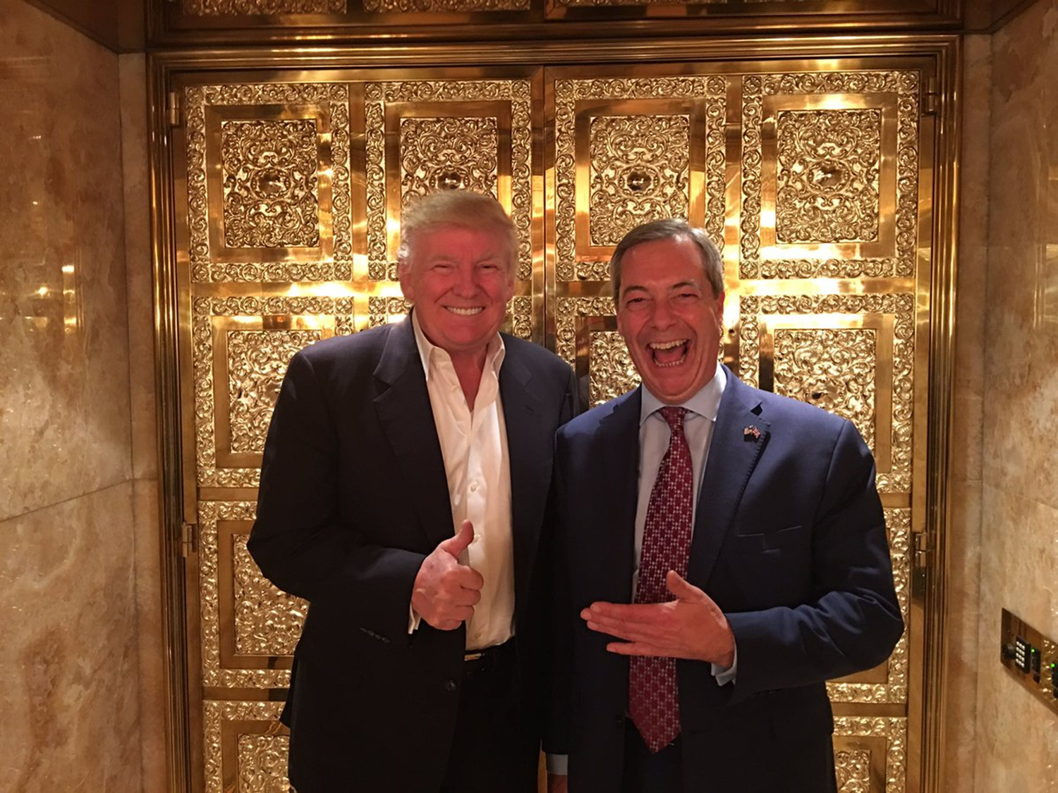 photo of Trump and Farage on November 12, 2016