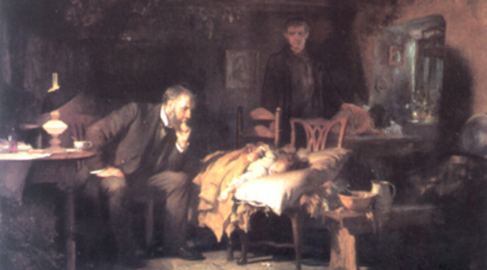 painting of doctor visiting a patient at home