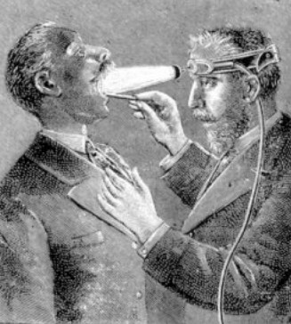 drawing of doctor looking down throat of patient