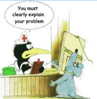 cartoon of nurse telling mouse with trap snapped on his neck 'You must clearly explain your problem'