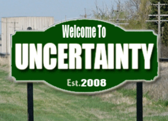 image of sign at limits of town named Uncertainty