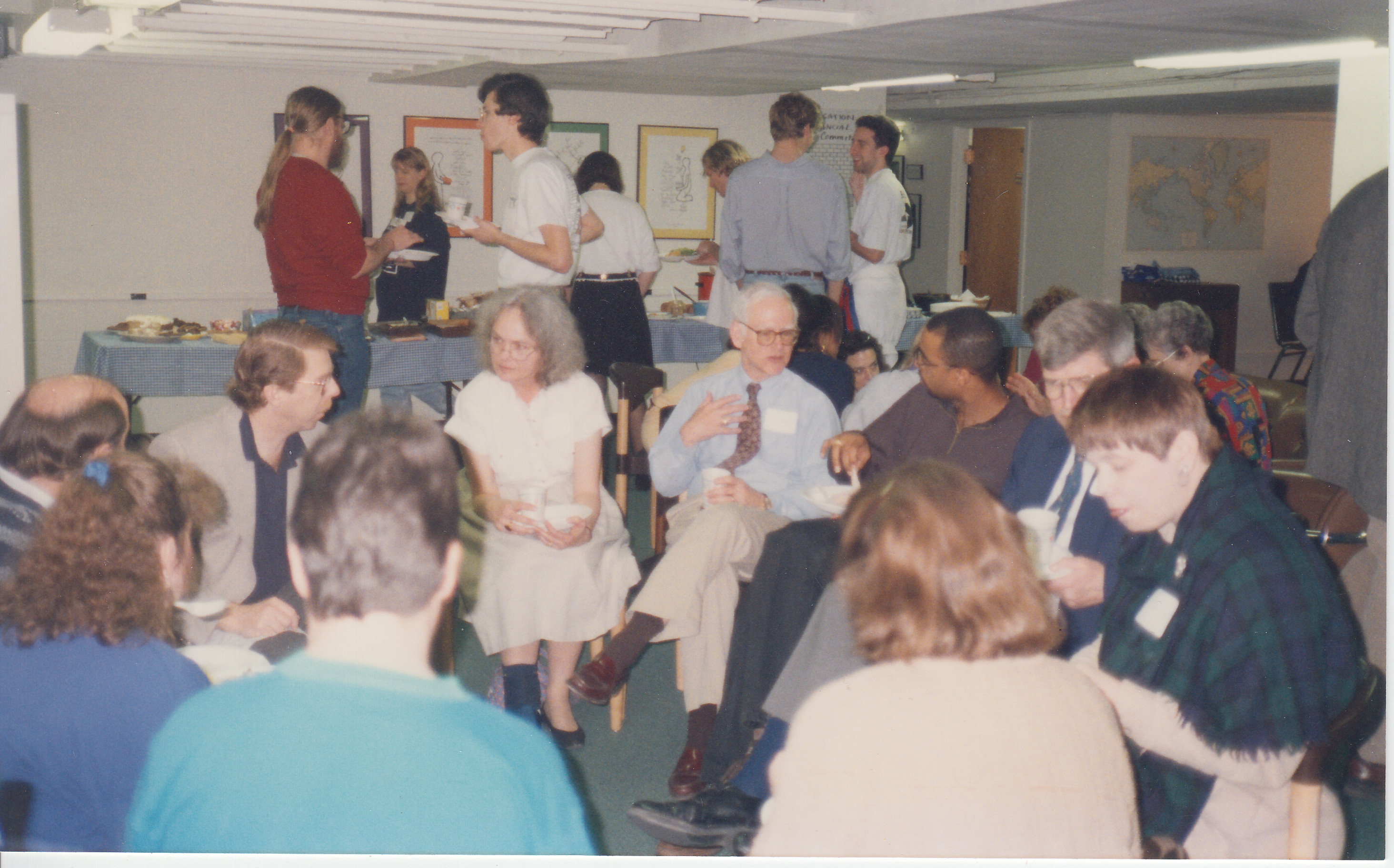 photo of fellowship with food in basement of Chapel
