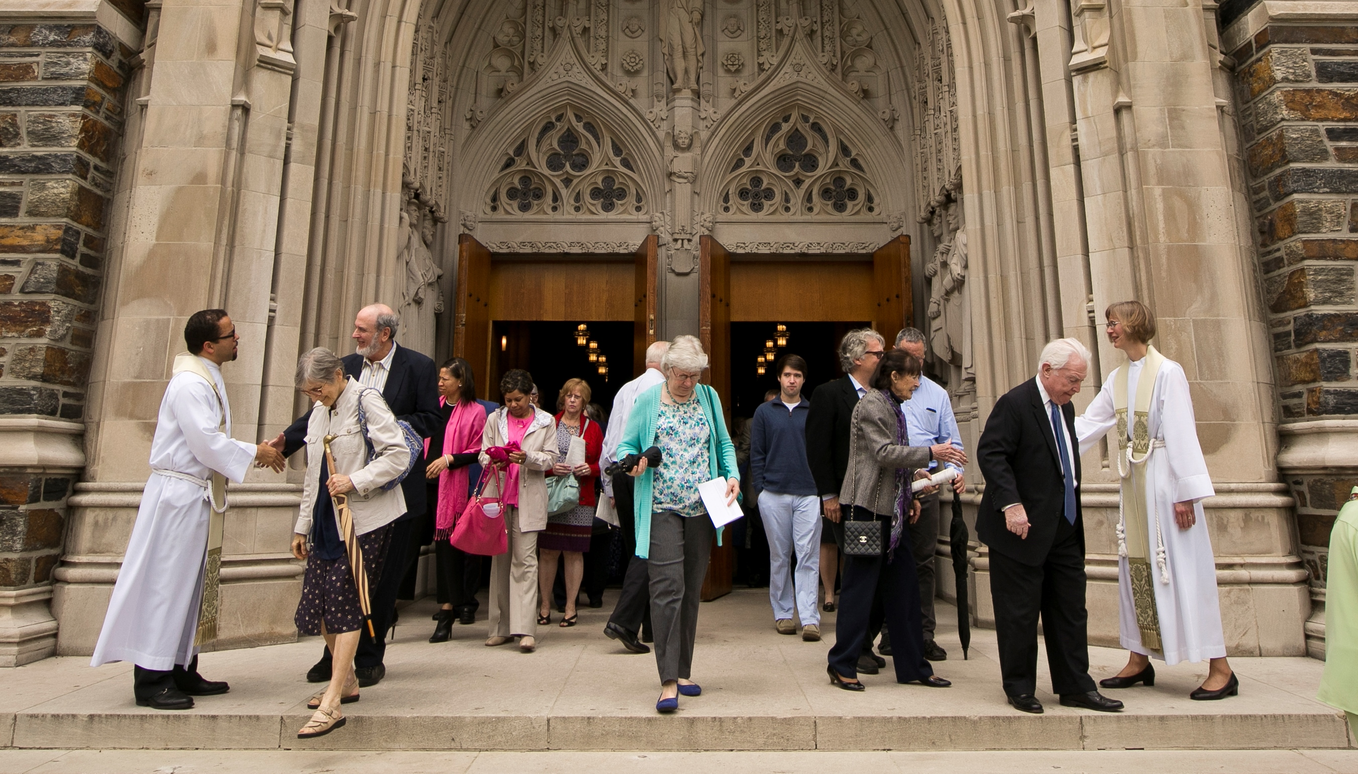 photo of people exiting worship service 2016