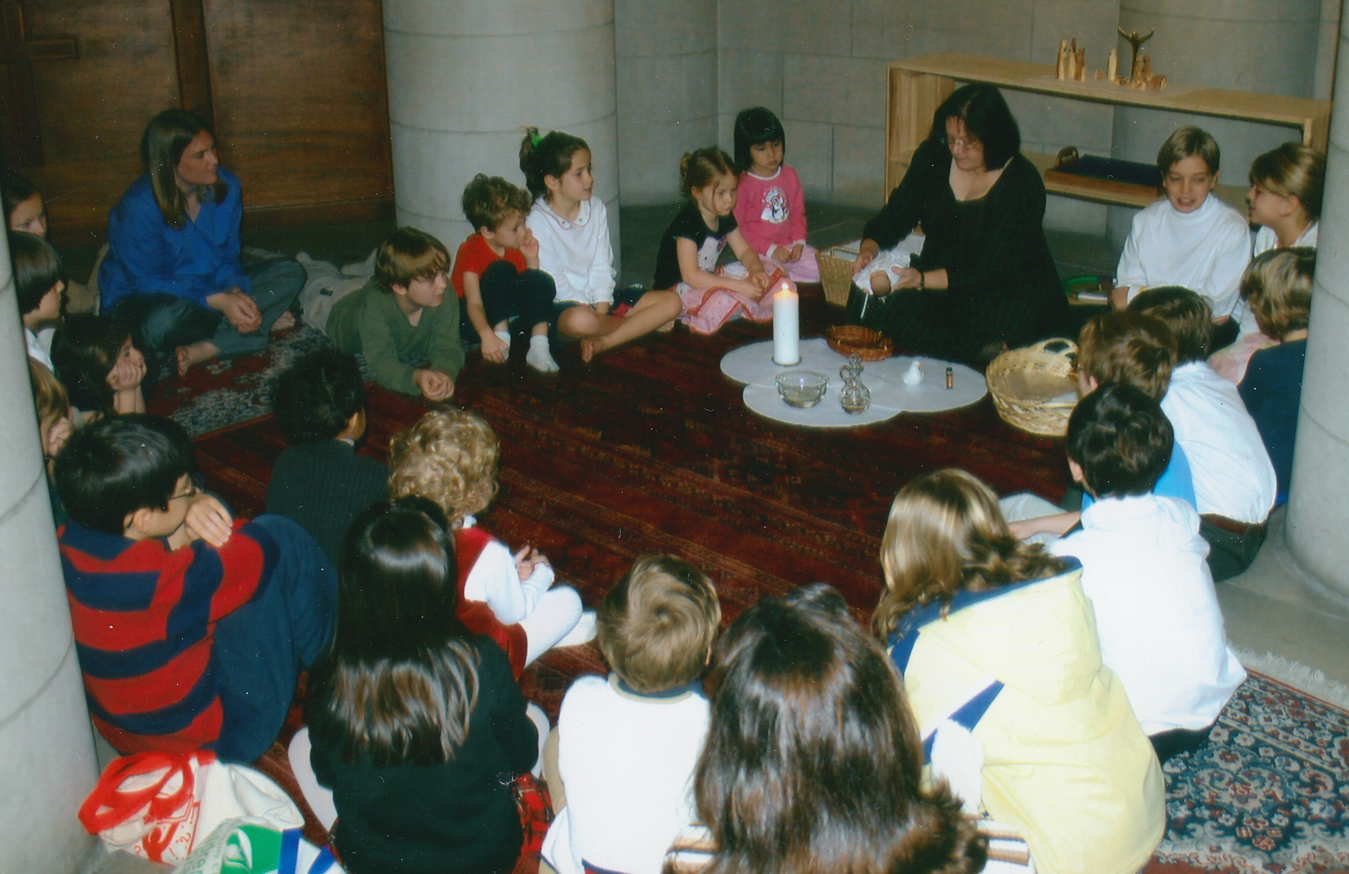 photo of first Godly Play class in the Chapel crypt