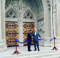 photo of ribbon cutting ceremony reopening the Chapel