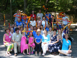 group at overnight retreat with Pentecost streamers