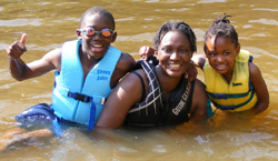 fun in lake at retreat