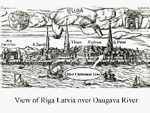 image of old map of Riga with first Christmas tree