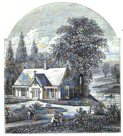 engraving of house near stream