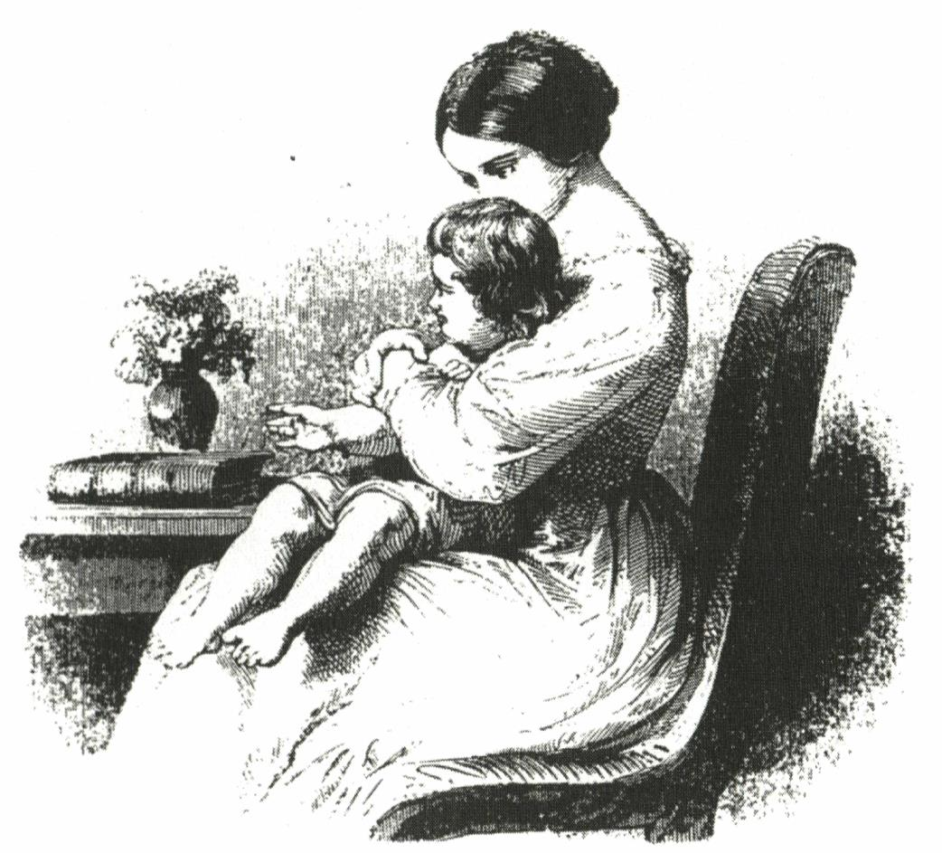 engraving of mother with daughter in lap
