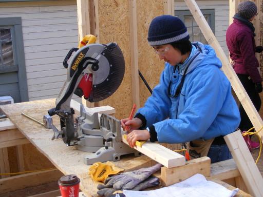 cutting up at a Habitat build