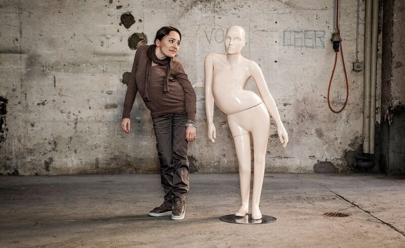 photo of model and mannequin