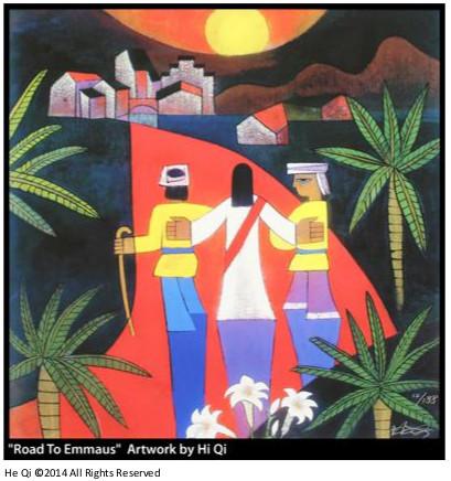 art depicting Jesus on the road