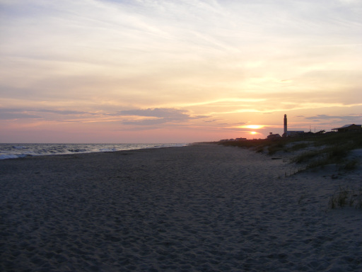 sunset over Fort Caswell's beach