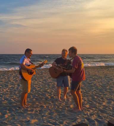 playing some music on the beach