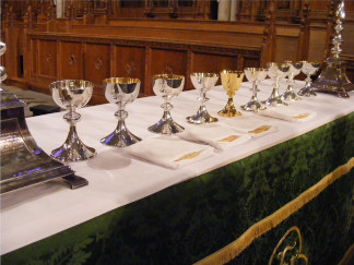 preparing chalices for communion