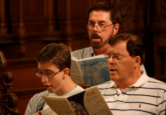 some choir members singing