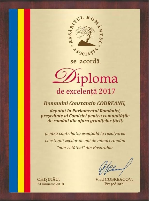 Constantin Codreanu Diploma Rasaritul Romanesc