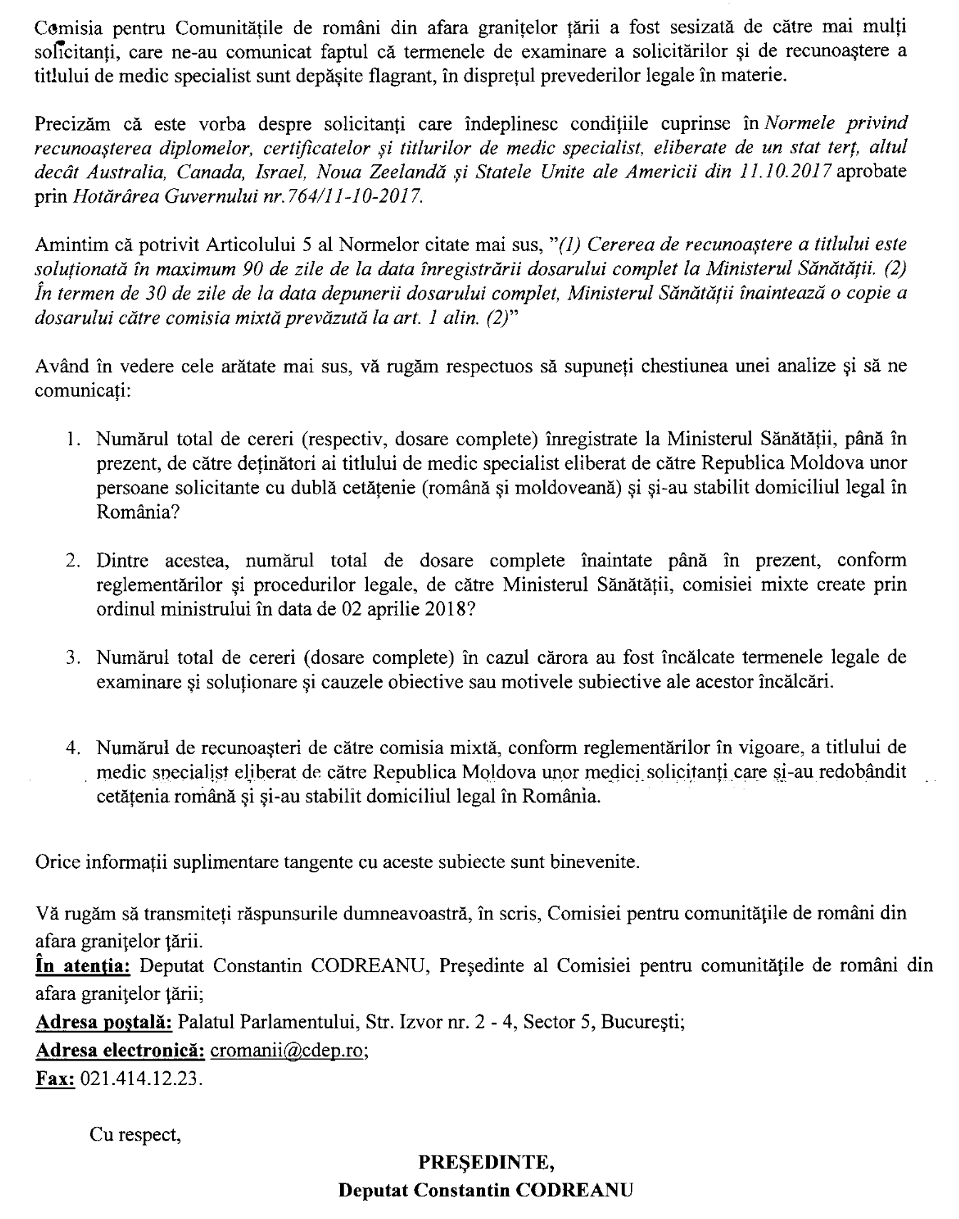 Interpelare Constantin Codreanu Ministerul Sanatatii